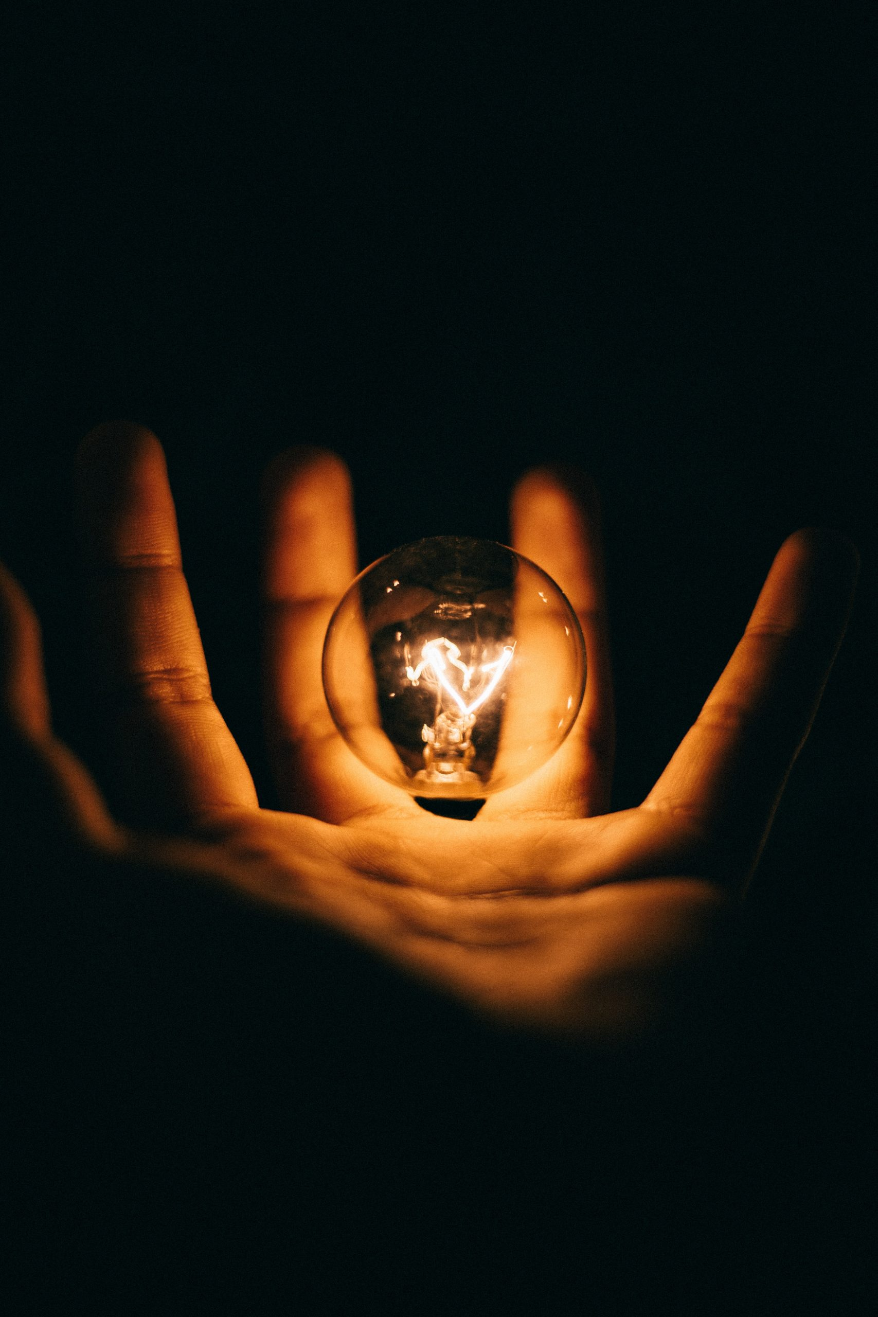 light bulb in palm of hand