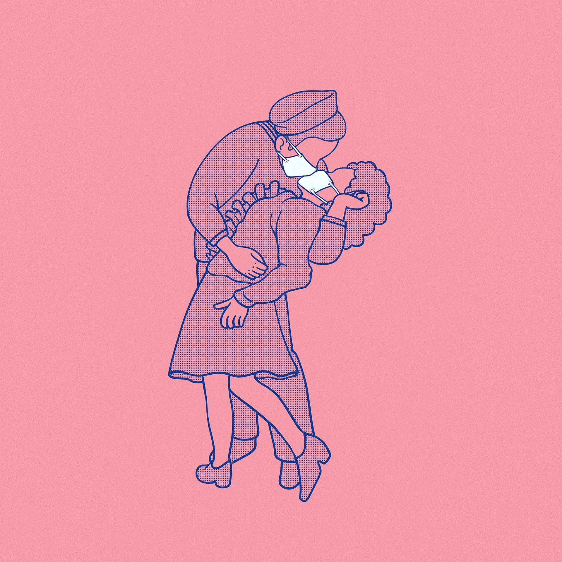 Cartoon of a masked couple kissing