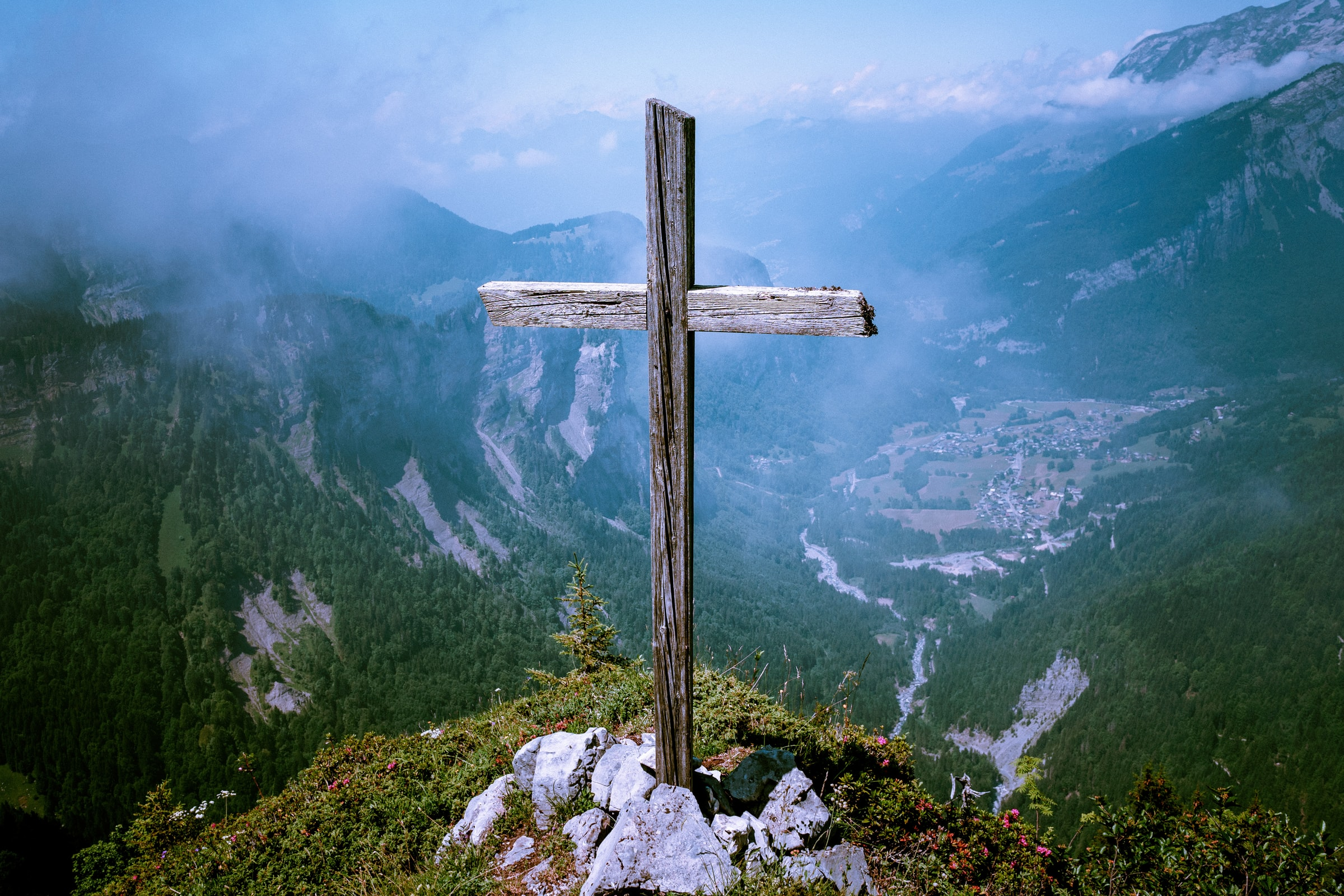 A cross atop a mountain